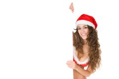 Woman wearing santa claus clothes with copy space Royalty Free Stock Photo