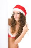 Woman Wearing Santa Claus Clothes With Copy Space Stock Photography