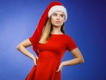 Woman wearing Santa Claus helper costume Royalty Free Stock Photography