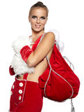 Woman wearing santa clause costume Royalty Free Stock Photos