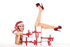 Woman wearing santa clause costume Royalty Free Stock Image