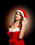 Woman wearing santa clause costume Royalty Free Stock Photo