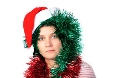 Woman wearing a santa hat Stock Photos