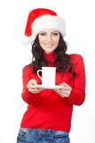 Woman Wearing Santa Hat Holding Mug On Plate Stock Images
