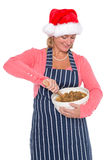 Woman wearing a Santa hat making a Christmas cake Stock Image