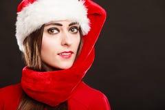 Woman wearing santa helper hat portrait Stock Images