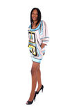 Woman wearing satin dress. Royalty Free Stock Image