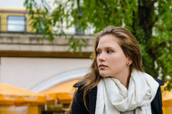 Woman Wearing Scarf While Looking Away Stock Photos