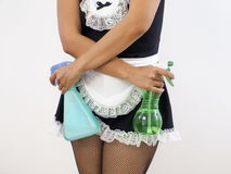 Woman wearing sexy maid uniform Royalty Free Stock Image