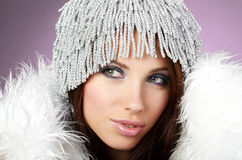 Woman wearing sexy winter clothes Royalty Free Stock Images
