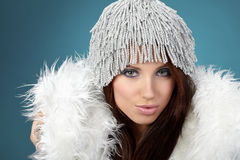Woman wearing sexy winter clothes Royalty Free Stock Image
