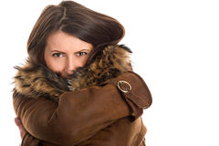 Woman wearing sheepskin Stock Image