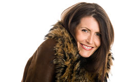 Woman wearing sheepskin Royalty Free Stock Photography