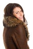 Woman wearing sheepskin Stock Photo