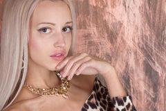 Woman wearing shiny necklace. Woman wearing shiny Yellow Quartz necklace Royalty Free Stock Photography