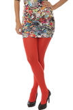 Woman Wearing Short Mini Dress with Red Tights Royalty Free Stock Photos