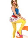 Woman Wearing Short Mini Skirt Stock Photo