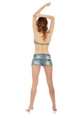 Woman wearing shorts and bra. Royalty Free Stock Photography
