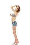 Woman wearing shorts and bra. Royalty Free Stock Photos