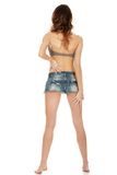 Woman wearing shorts and bra. Royalty Free Stock Photos