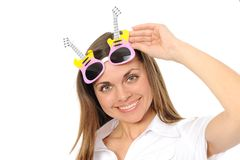Woman wearing silly glasses Royalty Free Stock Images