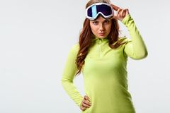 Woman wearing ski goggles Royalty Free Stock Photo