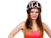 Woman wearing ski suit and helmet with goggles Royalty Free Stock Photography