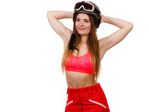 Woman wearing ski suit and helmet with goggles Stock Photography