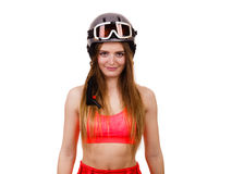 Woman wearing ski suit and helmet with goggles Stock Photos