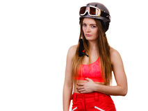 Woman wearing ski suit and helmet with goggles Royalty Free Stock Image