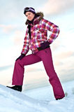 Woman wearing skiing suit Royalty Free Stock Photos