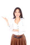 Woman wearing a skirt on white background Stock Photos