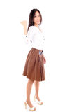 Woman wearing a skirt on white background Royalty Free Stock Photos