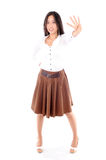 Woman wearing a skirt on white background Royalty Free Stock Photo