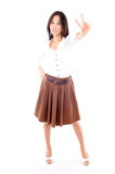 Woman wearing a skirt on white background Stock Images