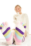 Woman wearing socks Stock Photos