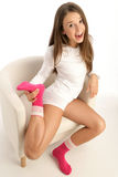 Woman wearing socks Stock Image