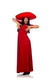 The woman wearing sombrero dancing on the white Royalty Free Stock Images