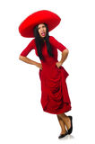 The woman wearing sombrero dancing on the white Royalty Free Stock Photography