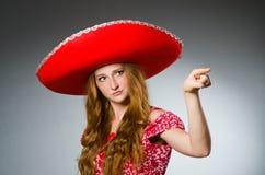 Woman wearing sombrero hat Stock Photography