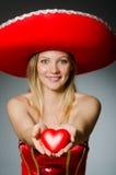 Woman wearing sombrero Stock Photography