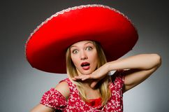 Woman wearing sombrero hat Royalty Free Stock Photography