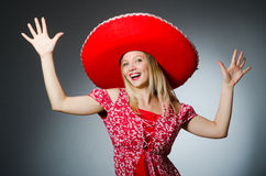 Woman wearing sombrero hat Royalty Free Stock Images