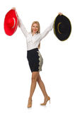 Woman wearing sombrero isolated Royalty Free Stock Images