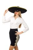 Woman wearing sombrero Stock Images