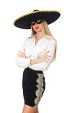Woman wearing sombrero Royalty Free Stock Image