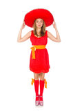 The woman wearing sombrero on the white Stock Photography
