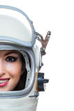Woman wearing space helmet Stock Photo