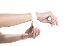Woman wearing sport tape, wrist injured Royalty Free Stock Photo