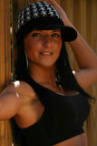 Woman wearing sports bra. Beautiful fit woman wearing black sports bra Stock Photos